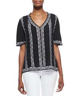 Nanette Lepore Sangria Knit V-Neck Top