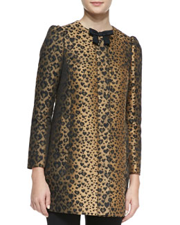 RED Valentino Bow-Neck Heart Leopard-Print Topper Coat, Toffee/Black