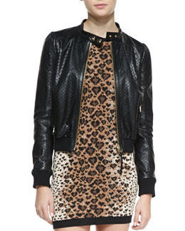 RED Valentino Perforated Stars Leather Bomber Jacket, Black