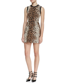 RED Valentino Sleeveless Heart-Leopard-Print Dress, Toffee/Black