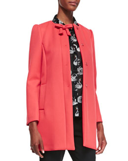 RED Valentino Hidden Placket Scuba Topper with Bow Detail at Neck