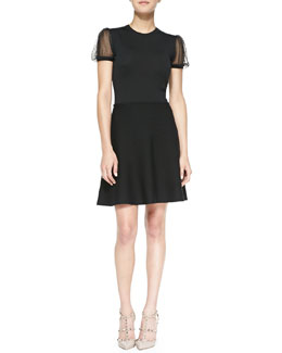 RED Valentino Point d'Esprit Yoked Short Knit Dress, Black