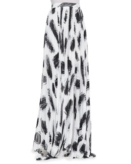 Alice + Olivia Shannon Pleated Brush-Print Maxi Skirt