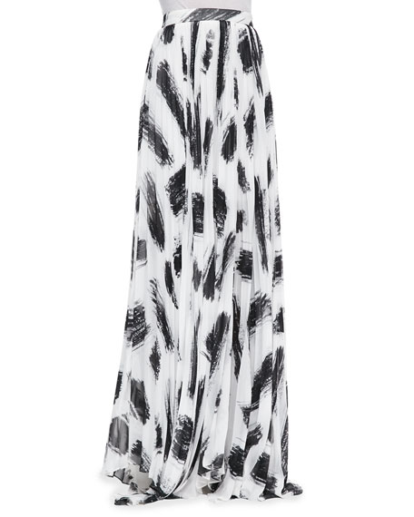 b50738c71 Alice + Olivia Shannon Pleated Brush-Print Maxi Skirt