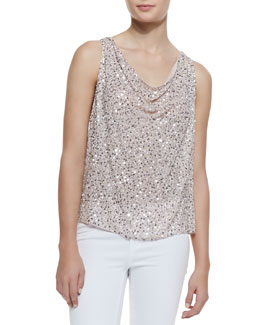Alice + Olivia Lucy Flowy Sequined Silk Top