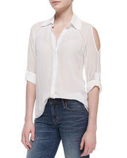 Alice + Olivia Gibson Sheer Open-Shoulder Top