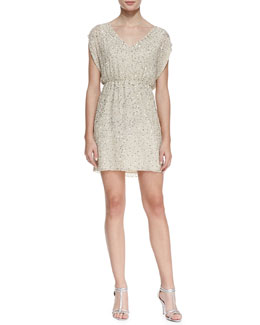Alice + Olivia Nelson Sequined Silk Blouson Dress