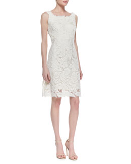 Kalinka Sleeveless Lace Feather Hem Cocktail Dress, White
