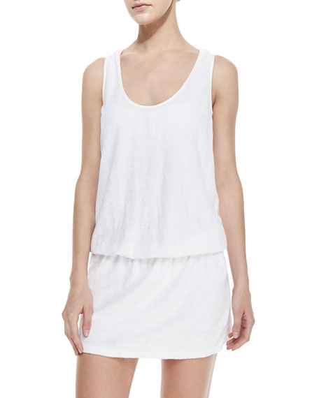 Terry Racerback Coverup Dress, White