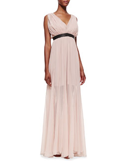 Alice + Olivia Kendrick Leather-Waist Chiffon Gown