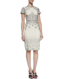 Catherine Deane Velma Short-Sleeve Embroidered Cocktail Dress With Leather Trim