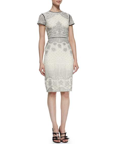 Velma Short-Sleeve Embroidered Cocktail Dress With Leather Trim