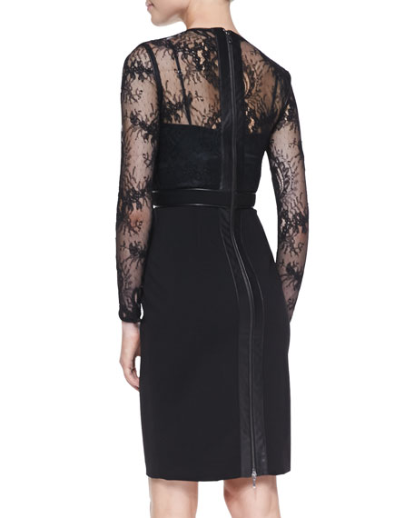 Vinita Long-Sleeve Lace Cocktail Dress