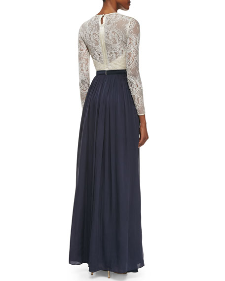 Vita Long-Sleeve Lace-Bodice Gown
