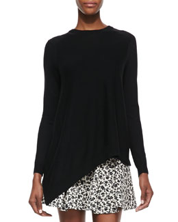 Thakoon Addition Asymmetric Pullover with Georgette Back, Black