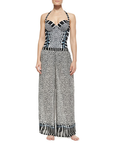 Savannah Mixed-Print Coverup Pants