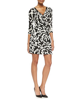 Diane von Furstenberg New Julian Two Printed Mini Wrap Dress