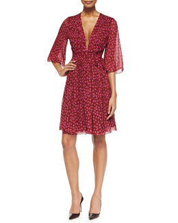 Diane von Furstenberg Alicia Peasant-Sleeve Ballet Rose Dress