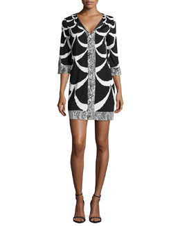 Diane von Furstenberg Rose Printed Caftan Dress, Acorn Moon White