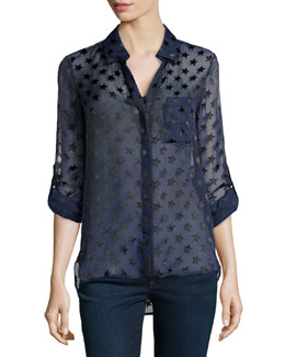 Diane von Furstenberg Lorelei Two Star Blouse, Ink Black