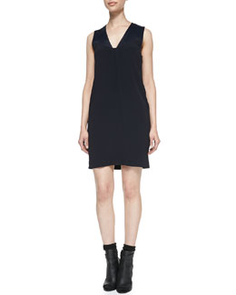 Vince Satin-Top Sleeveless Crepe Dress