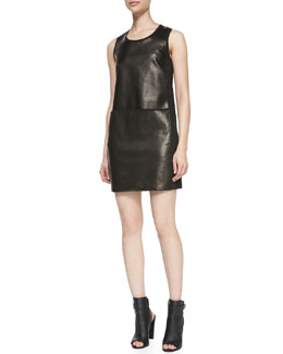 Vince Paneled Sleeveless Leather/Ponte Dress
