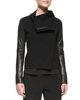 Vince Leather-Sleeve Asymmetric Wool Biker Jacket