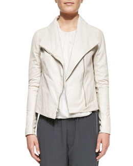 Vince Lambskin Scuba Jacket, Off White