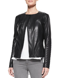 Vince Quilted-Patch Leather Moto Jacket