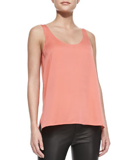 Vince Scoop-Neck Silk Tank, Melon