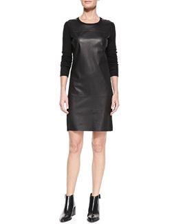 Vince Leather-Paneled Long-Sleeve Wool Dress