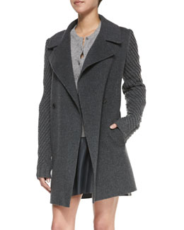 Vince Sweater-Sleeve Felt Coat, Heather Gray