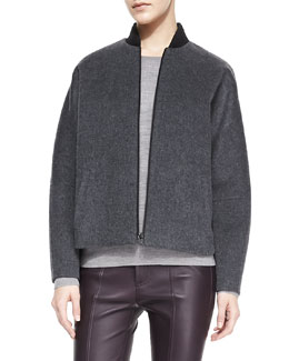 Vince Knit-Trim Fleece Bomber Jacket