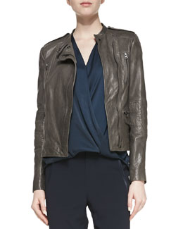 Vince Leather Moto Jacket with Quilted Band Sleeves