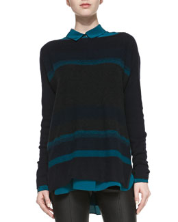 Vince Boat-Neck Striped Knit Sweater
