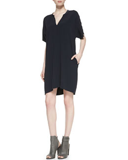 Vince Split-Neck Short-Sleeve Dress
