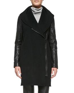Vince Leather-Sleeve Shawl-Collar Coat, Black