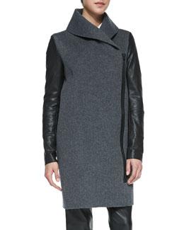 Vince Leather-Sleeve Shawl-Collar Coat, Heather Gray