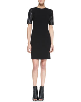 Vince Leather-Sleeve Pencil Dress