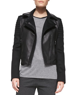 Vince Quilted Knit/Leather Moto Jacket