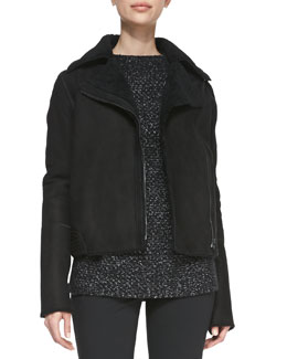 Vince Asymmetric Shearling/Suede Zip Jacket