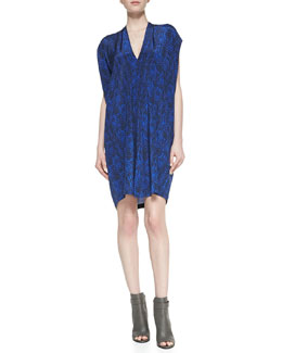 Vince Short-Sleeve Double-V Silk Shift Dress