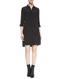 Vince Long-Sleeve Silk Shirtdress, Black