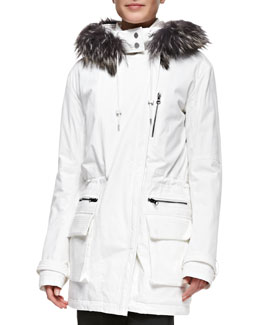 Vince Quilted Parka with Fur-Trimmed Hood
