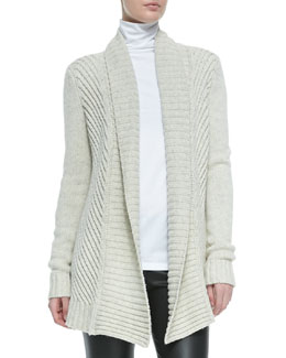 Vince Ribbed Open-Front Knit Cardigan, Soft Gray