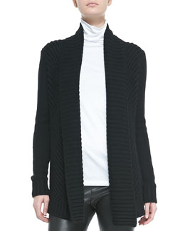 Vince Ribbed Open-Front Knit Cardigan, Black