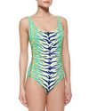 Carmen Marc Valvo Snakeskin-Print Scoop-Neck One-Piece Swimsuit