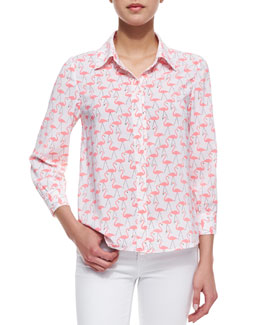 Alice + Olivia Willa Flamingo-Print Blouse