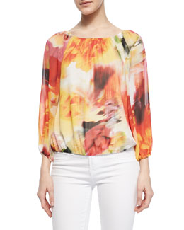 Alice + Olivia Alta Watercolor-Print Silk Top