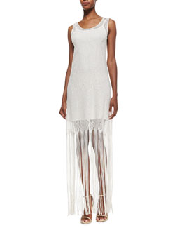 Alice + Olivia Lena Crocheted-Overlay Maxi Dress